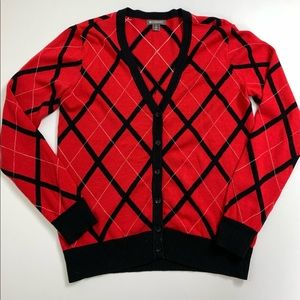 Spanner Red/Black Argyle Cardigan Size Small